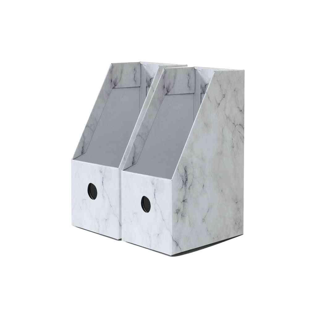 Foldaway File Holder Marble Newspaper Box Desk Top Organizer
