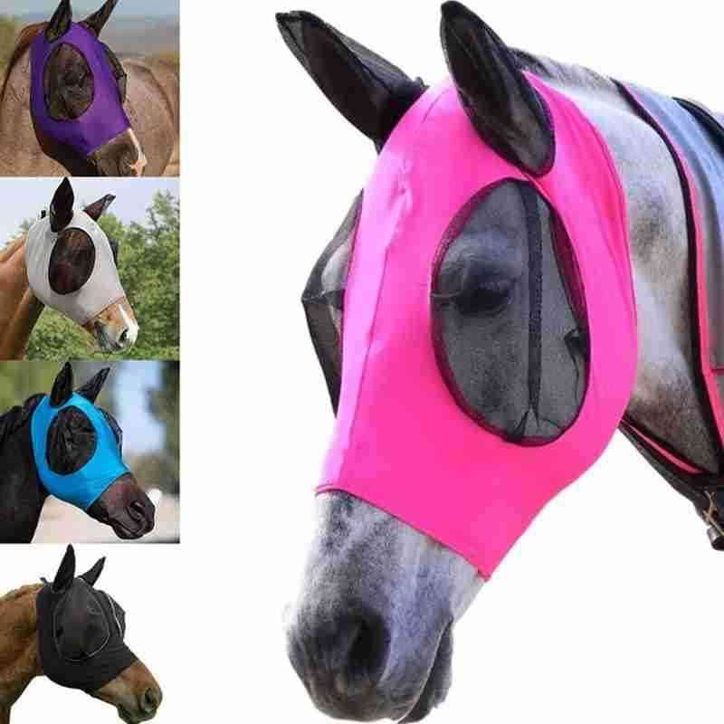 Anti-fly Mesh Equine Mask, Horse Stretch Adjustable Fly Masks, Breathable, Comfortable, Anti Fly