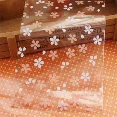 300pcs / Lot Pink Transparent Sakura Pattern Jewelry Bag