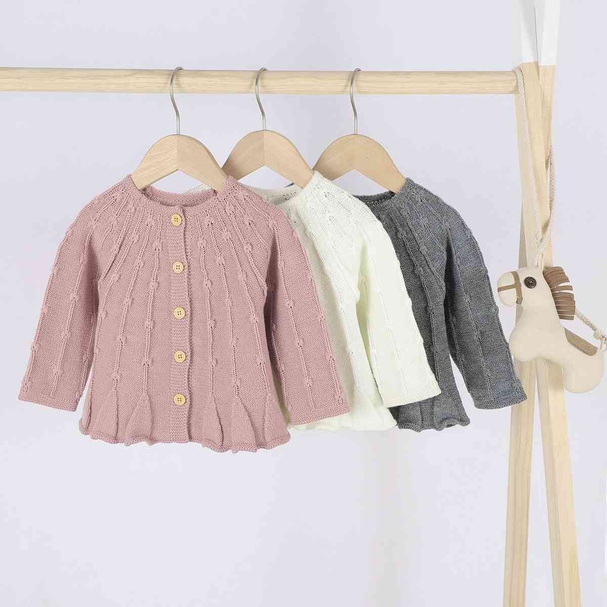 Baby Girl Knitted Cardigan Sweaters, Winter Outwears Clothing