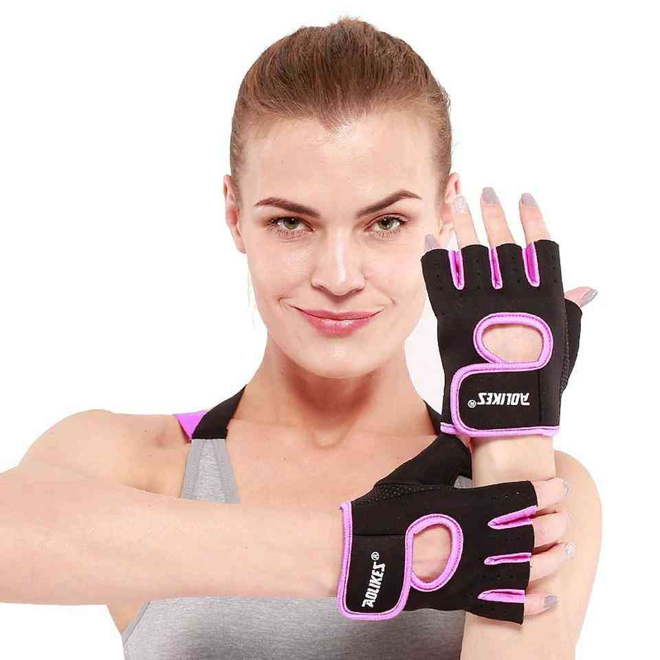 Half Finger- Exercise Wrist, Anti-slip, Weightlifting Gloves, Women