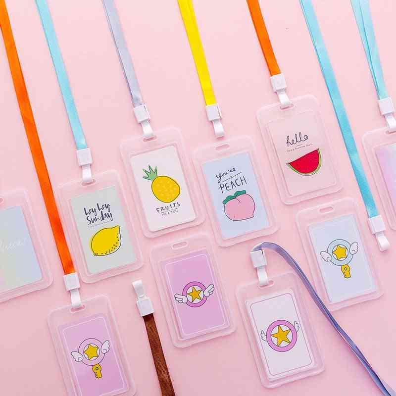 Cute Cartoon Fruit Lanyard Transparent Badge Card Bus Card Holder