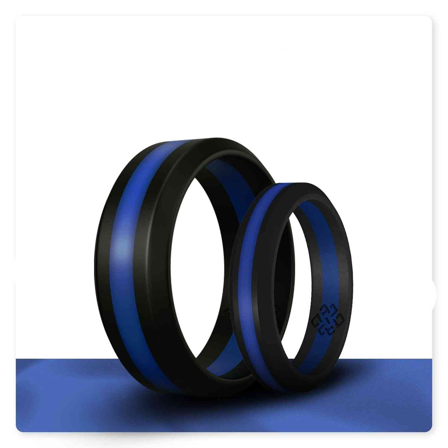 Thin Blue Line Silicone Ring And Women