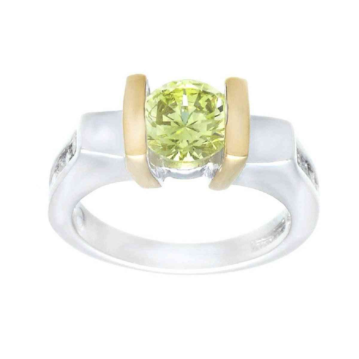 Ultra Contemporary Engagement Solitaire Bright Lemon Green Ring
