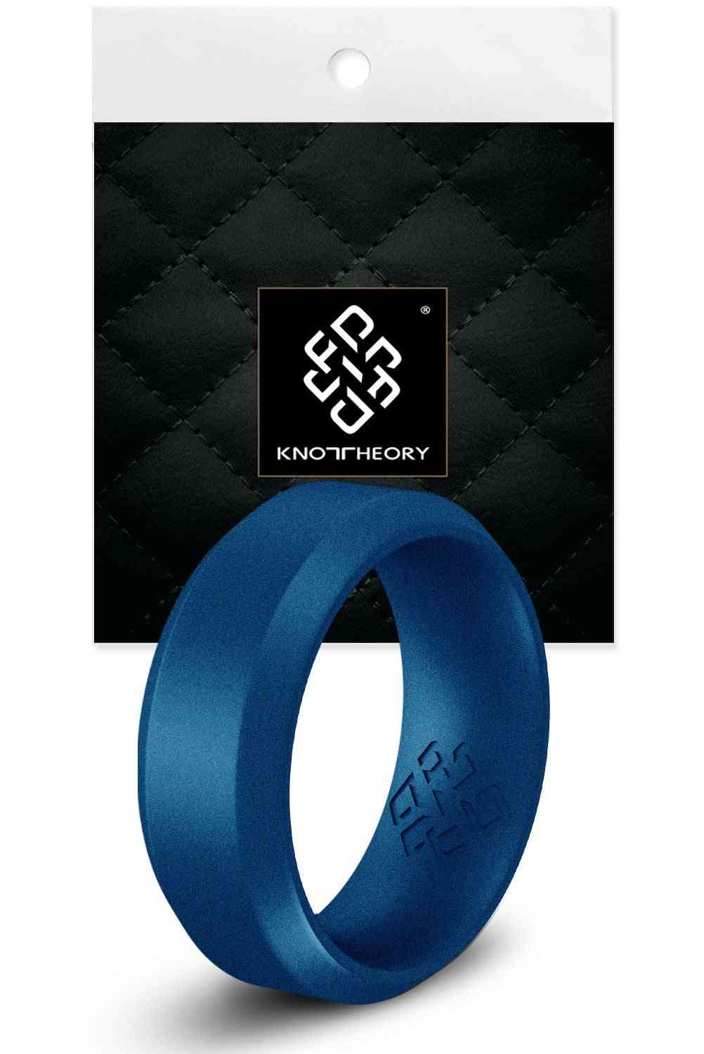 Midnight Blue Bevel Edge Breathable Silicone Ring