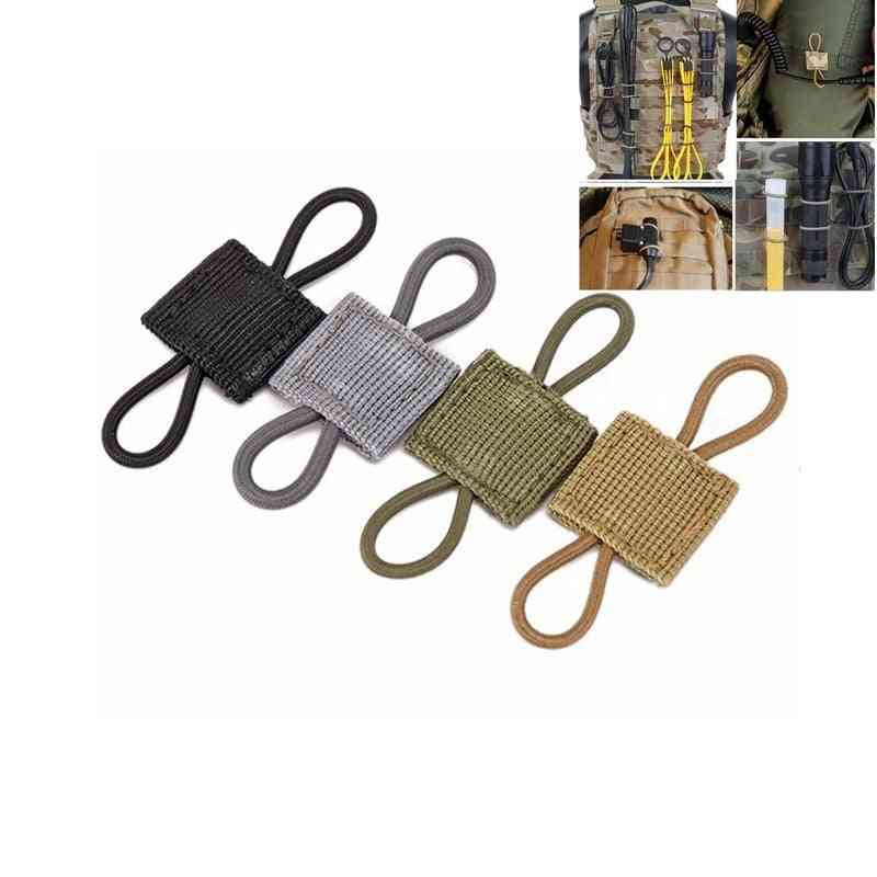 Tactical Elastic Molle Ribbon, Buckle Binding Retainer For Antenna Stick, Pipe, Rope Webbing
