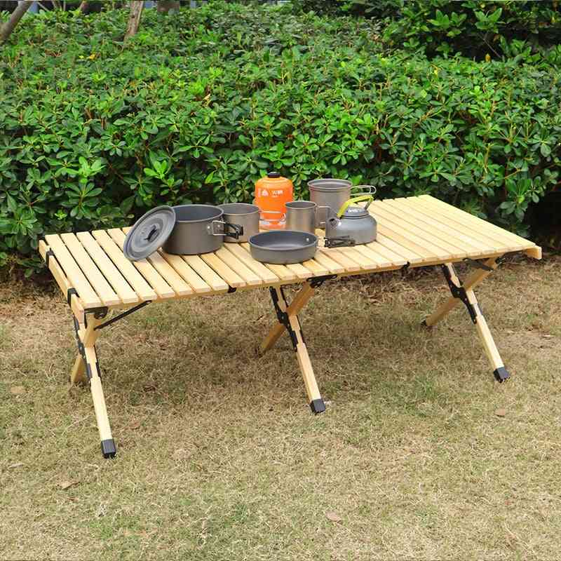 Camping Folding Wood Table- Portable, Foldable, Outdoor Picnic, Cake Roll Wooden Tables In A Bag