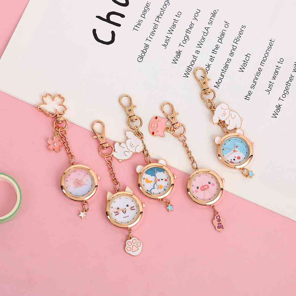 Cute Cartoon Cat Sakura Pocket Watch, Keychain Pendant, Schoolbag Decoration, Key Manager Jewelry For Kids