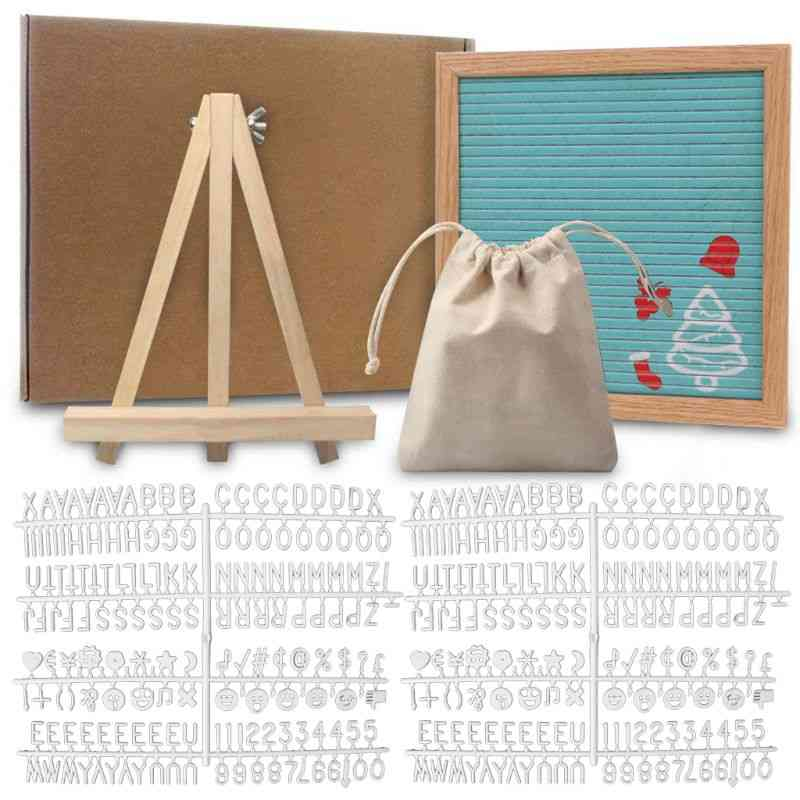 Felt Letter Board 10x10 Inch Solid Oak Wood Material With 340 White Letters