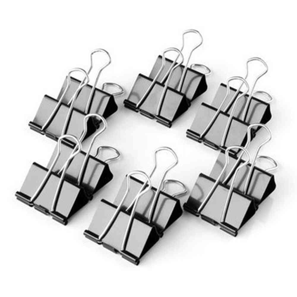 Metal Paper- Foldback Binder Clips, Black Grip Clamps