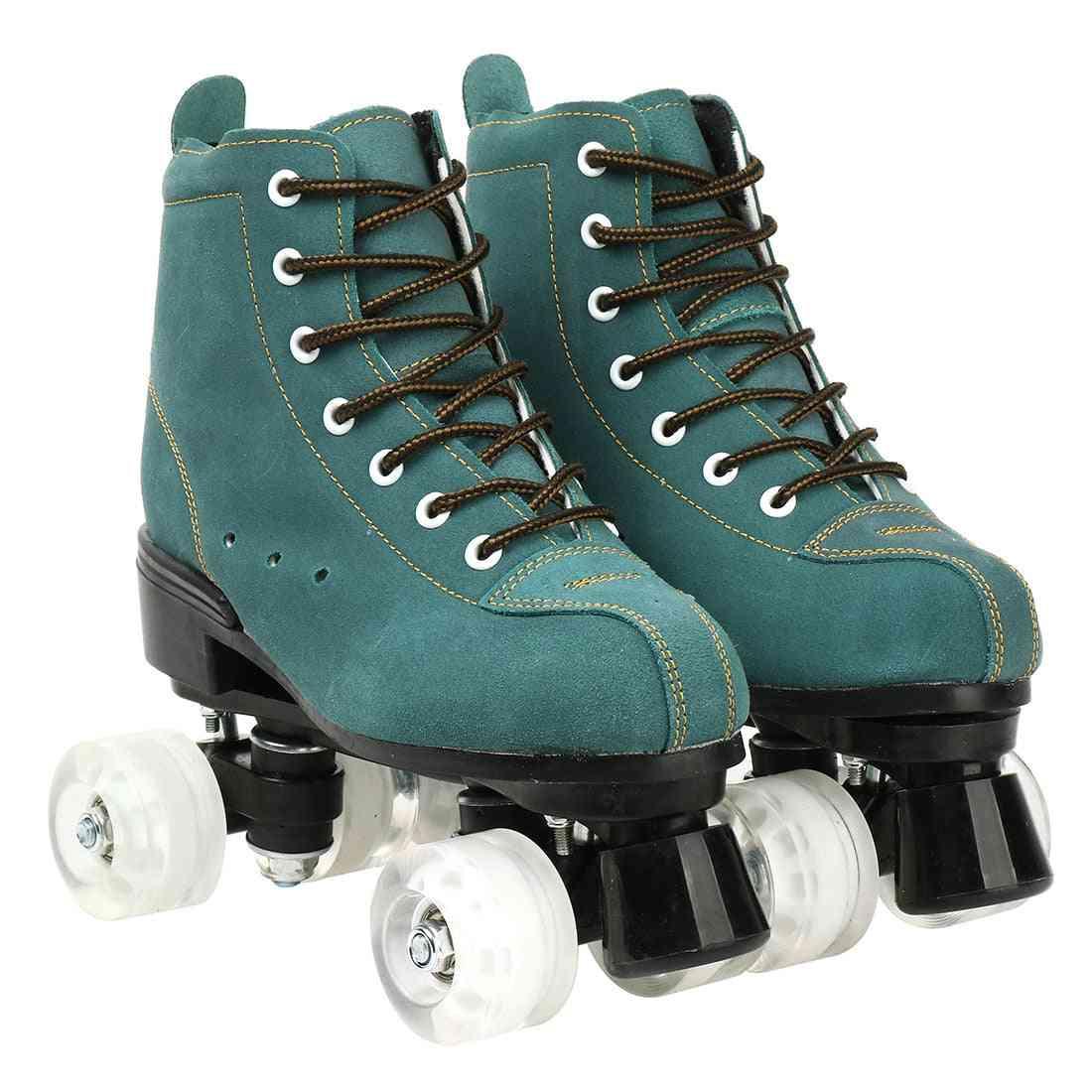 Cowhide Flash Wheels Shoes, Double Line Skates