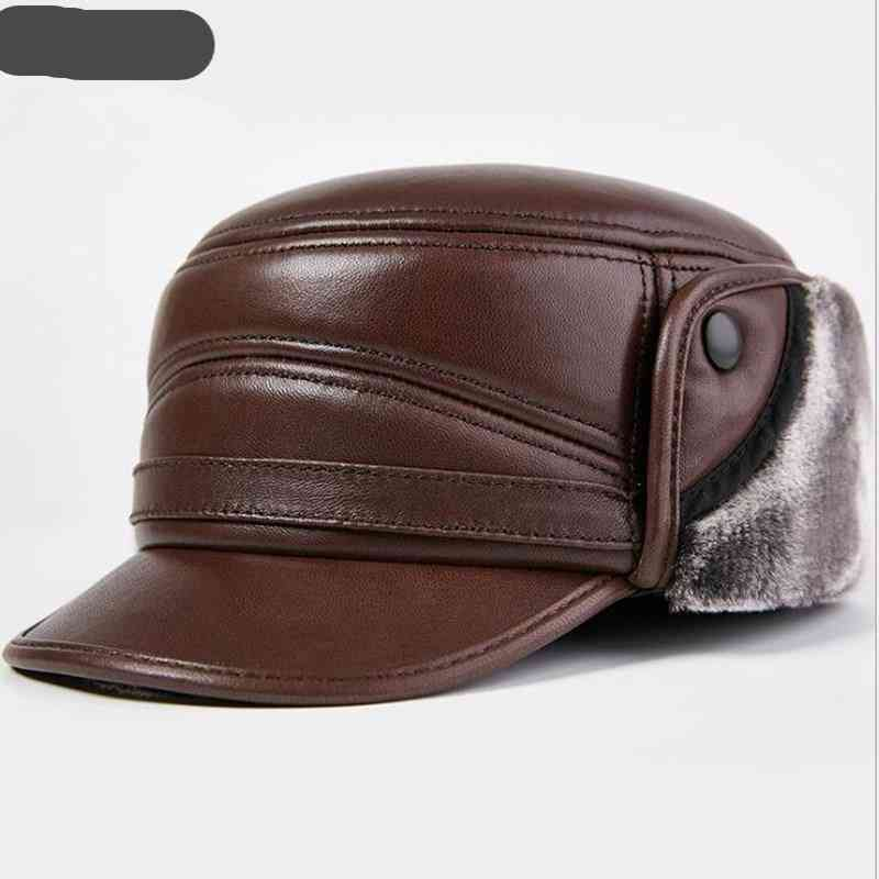 Thick Warm Cap Genuine Leather Hat