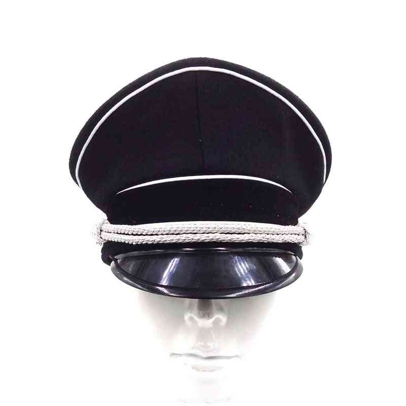 Hat Officer German Cap Silver Cord Black