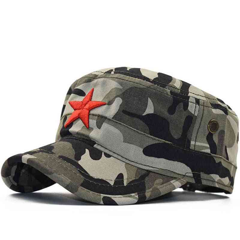 Simple Classic Camouflage Men Five Stars  Military Caps