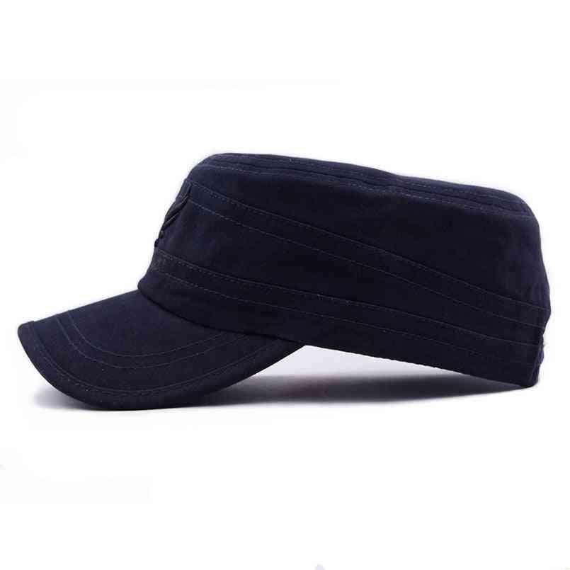 Eagle Flat Top Cap Men Vintage Army Hat