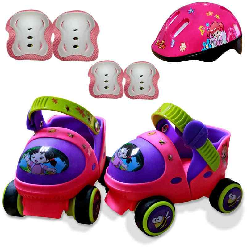 Baby Two Line Roller Skates Double Row 4 Wheel Skate Shoes