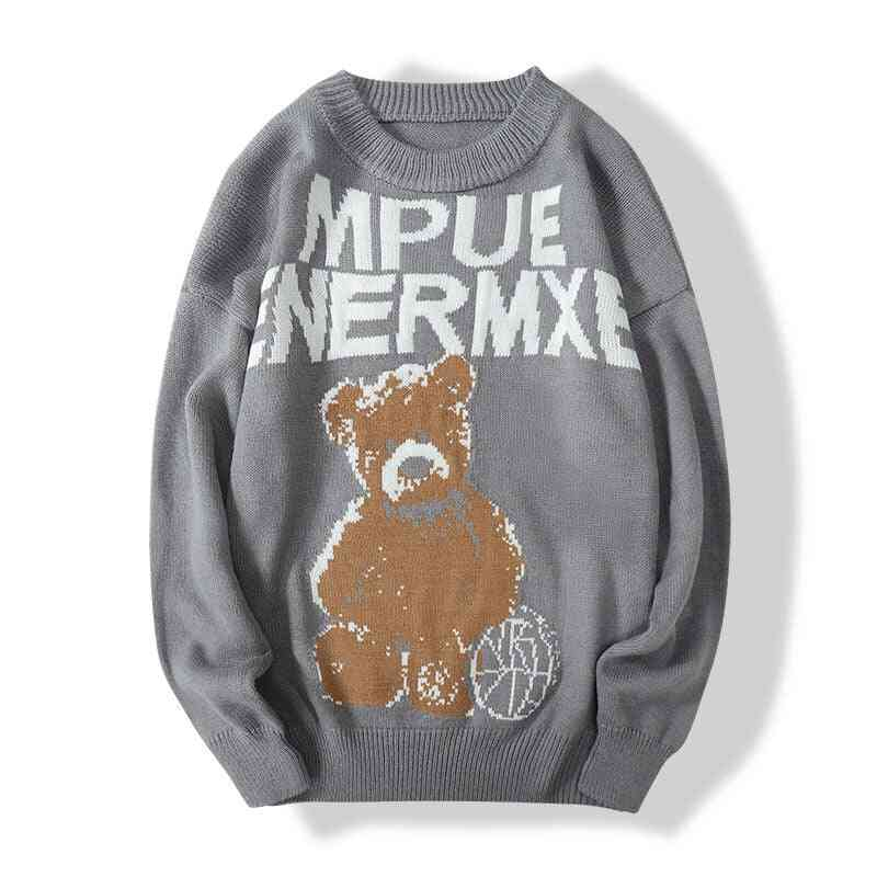 Keep Warm Sweater Big Bear Pattern Loose Bowling Jacket