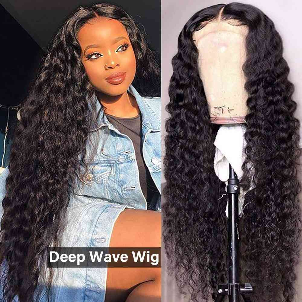 Deep Wave 4x4 Lace Closure Human Hair Wigs 180% Density Natural Color