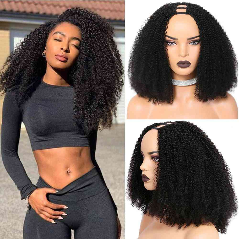 Upart Wigs Afro Kinky Curly Clip In Human Hair Wigs For Black Women