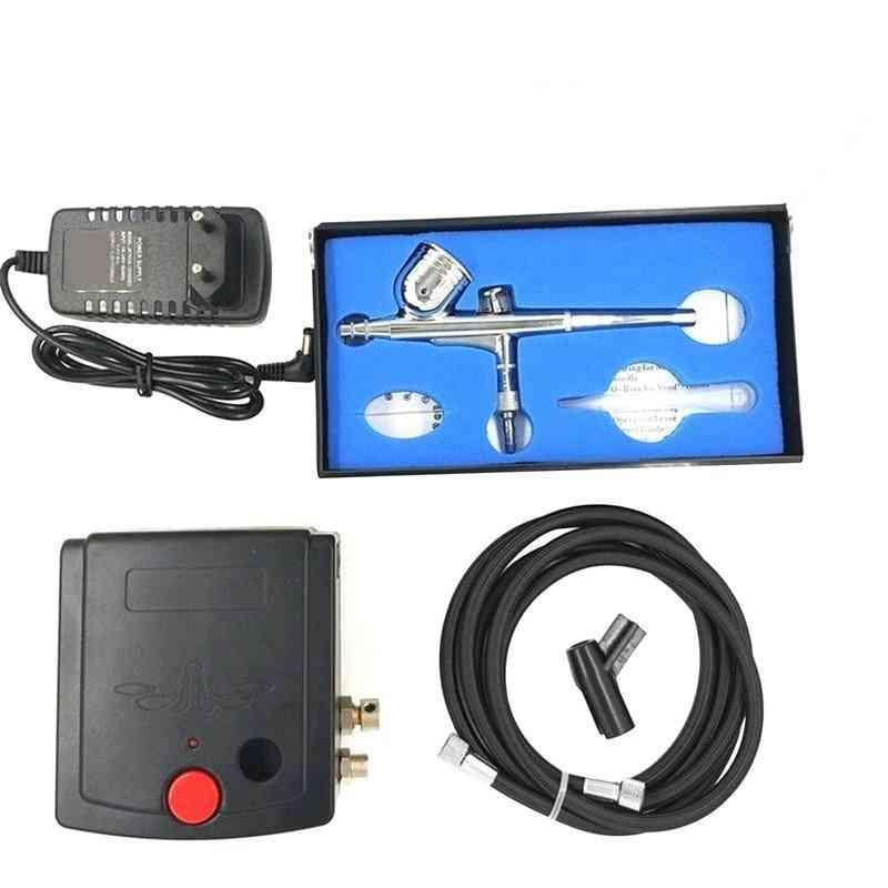 Double Action Mini Air Compressor Airbrush Kit Airbrush Spraying Instrument Pump For Art Painting Tattoo Spray Eu Plug