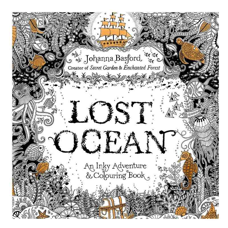 24pages 7.3 Inch English Edition Coloring Book For Kids Lost Ocean Adult Diy Toys School Craft Supply