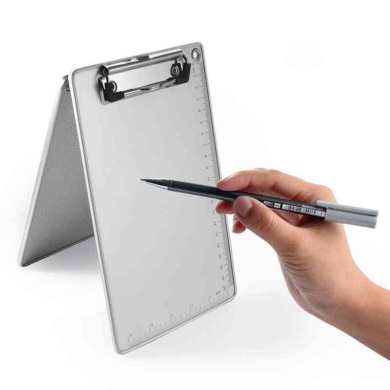 Portable Clipboard Writing Pad, File Folder With Ruler, Document Holders, Metal File, Hardboard Clip, School, Office Stationery