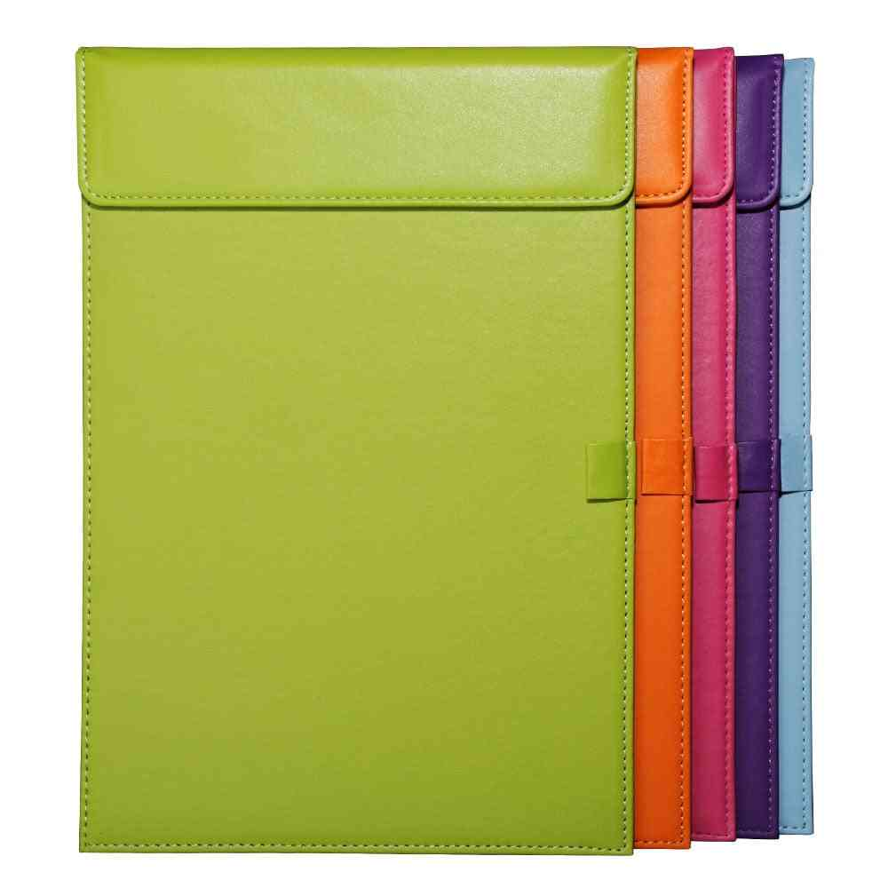 Pu Leather Document File, Paper Holder Clip Board, Office Clipboard With Pen Slot, Business Supplies, Portfolios Pad Messager