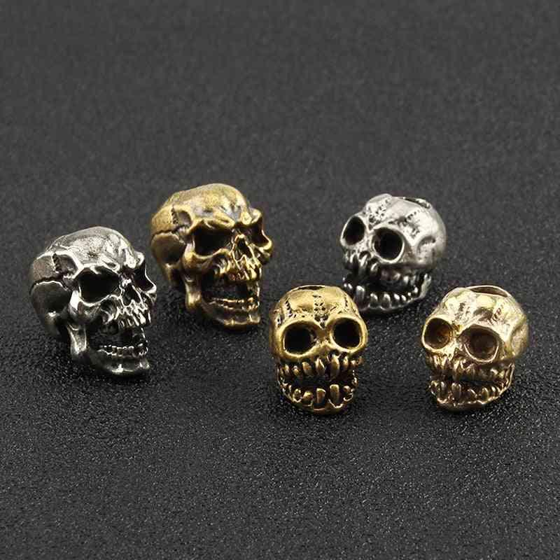 Punk Brass Skull Knife Beads Umbrella Rope Bead Skull Paracord Pendant