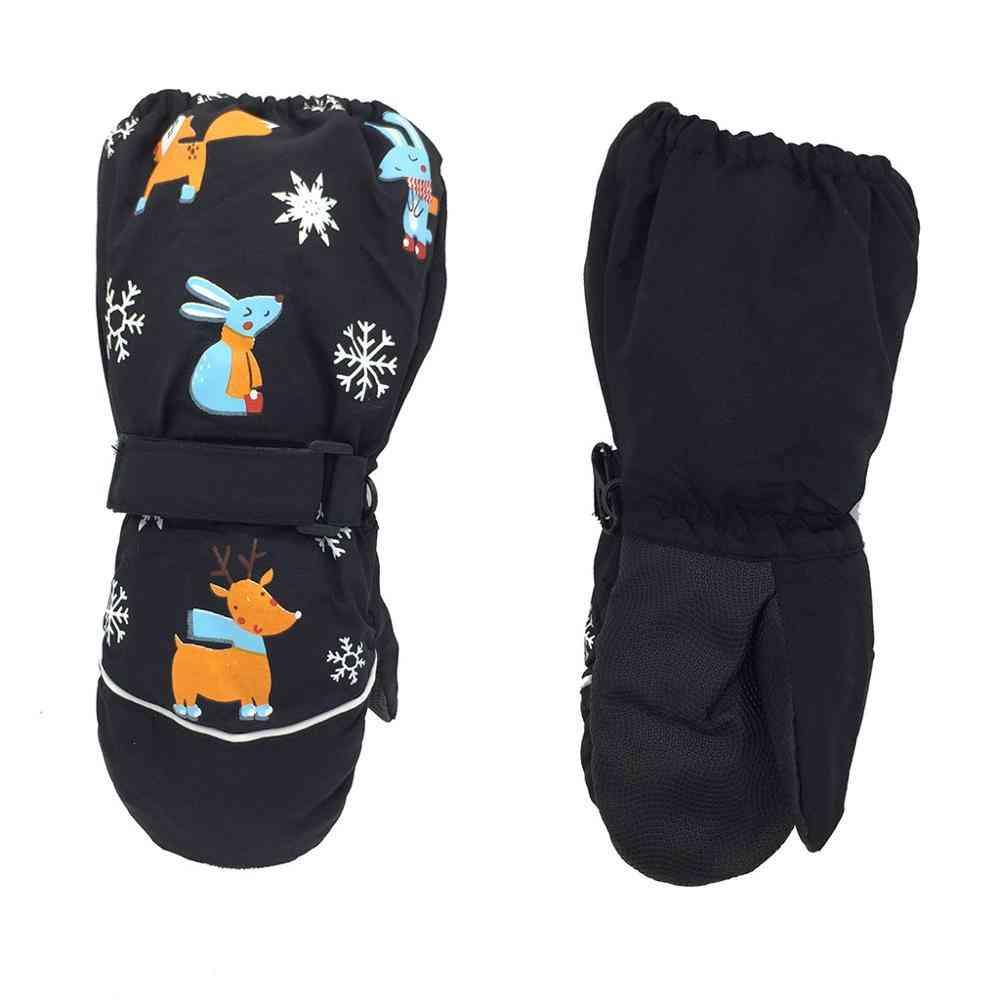 Children Print Cartoon Deer Rabbit Thickening Ski Gloves