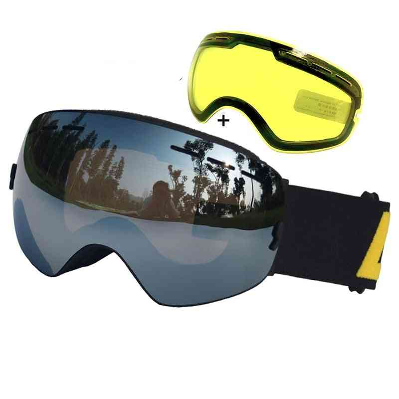 Goggles Ski Eye Wear With One Brightening Lens
