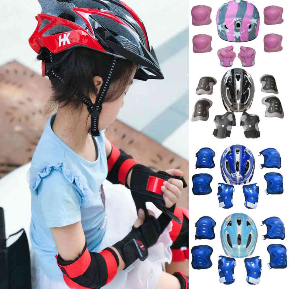Kids Roller Skating Bicycle Helmet Knee Wrist Guard Elbow Pad