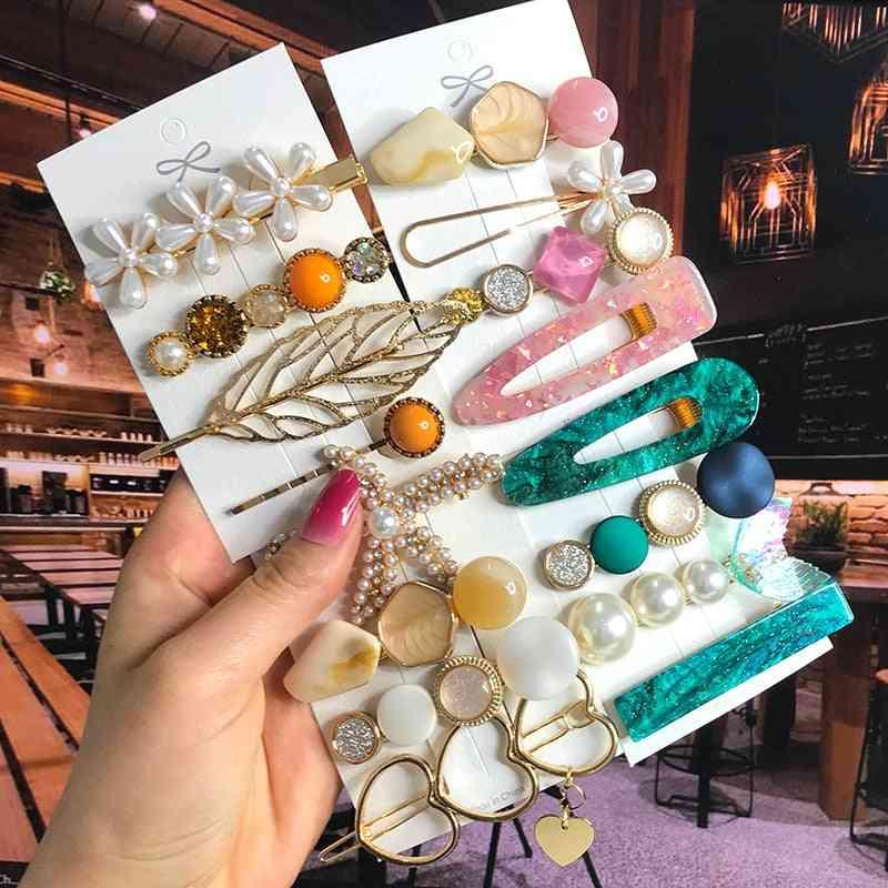 Pearl Crystal Acrylic Hair Clips Set For Women Girl Hair Accessories