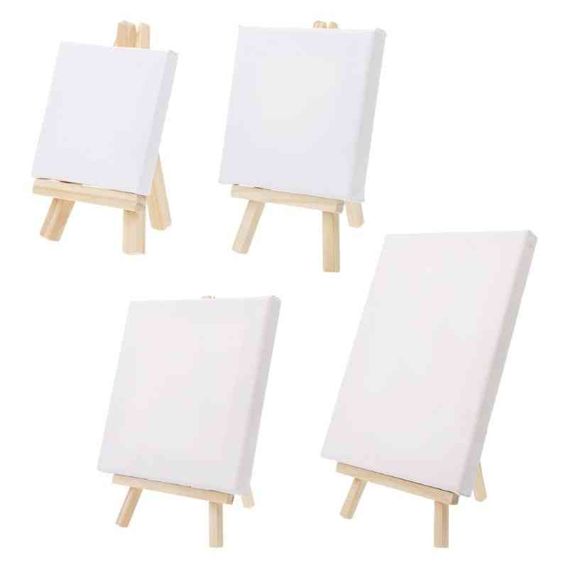 Mini Canvas And Natural Wood Easel Set For Art Painting, Drawing Craft