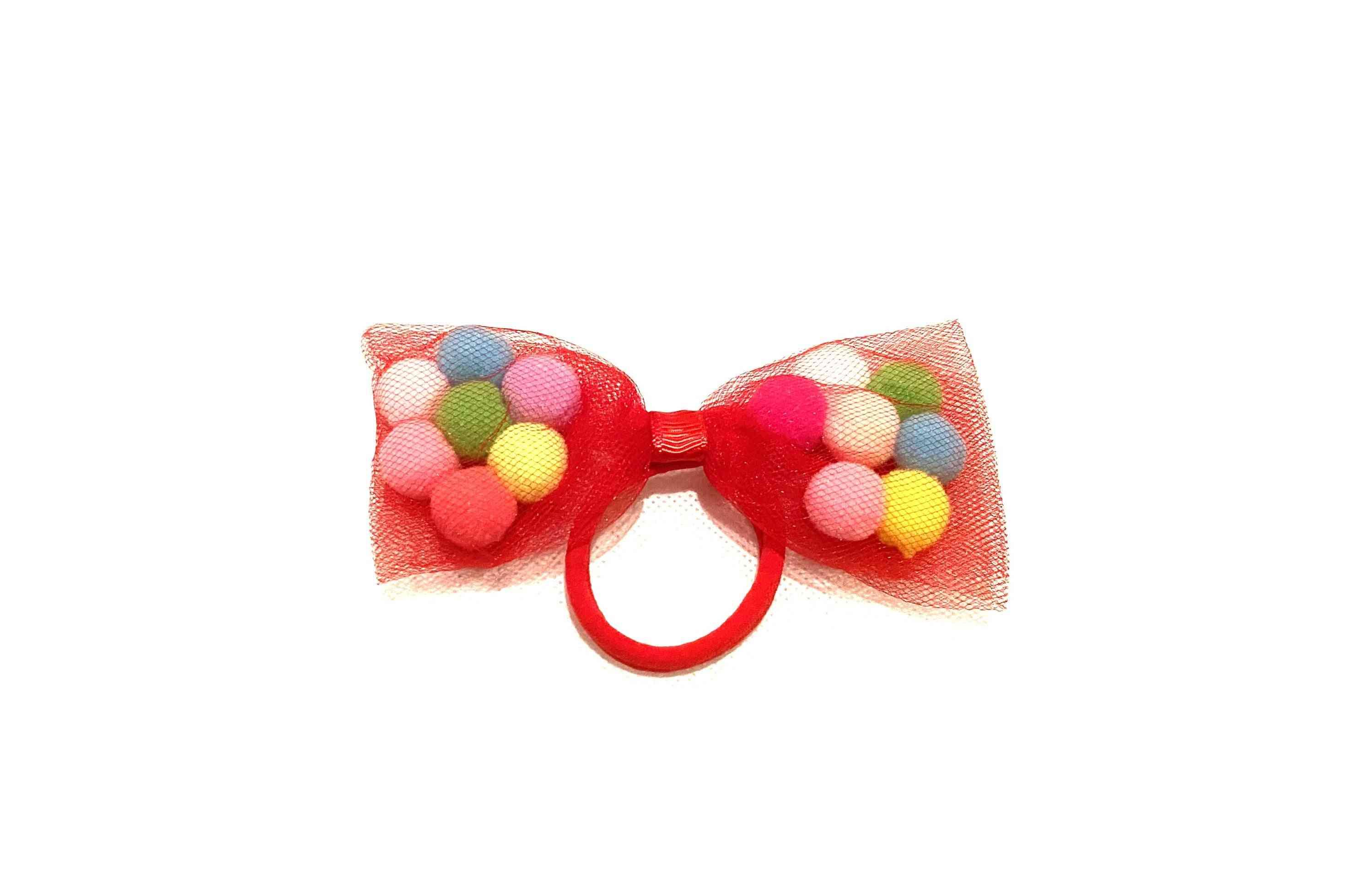 Red Bow Pom Pom Hair Ties-soft Ponytail Holders