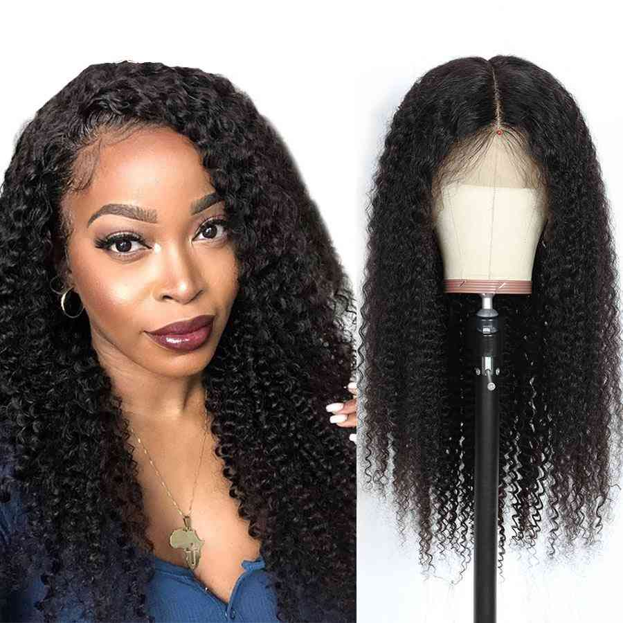 180% Density Kinky Curly 4x4 Lace Closure Human Hair Wigs