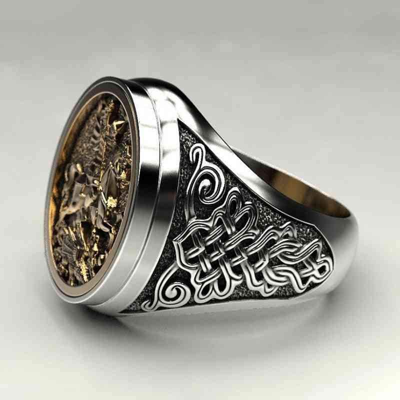 Male Finger Ring Two-color Gold Metal Roman Soldier Malone Ring