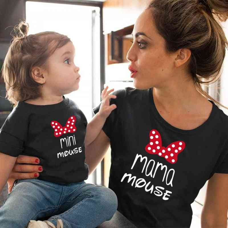 Family Matching Cotton Kawaii Bow T-shirt, Mommy Baby Tops