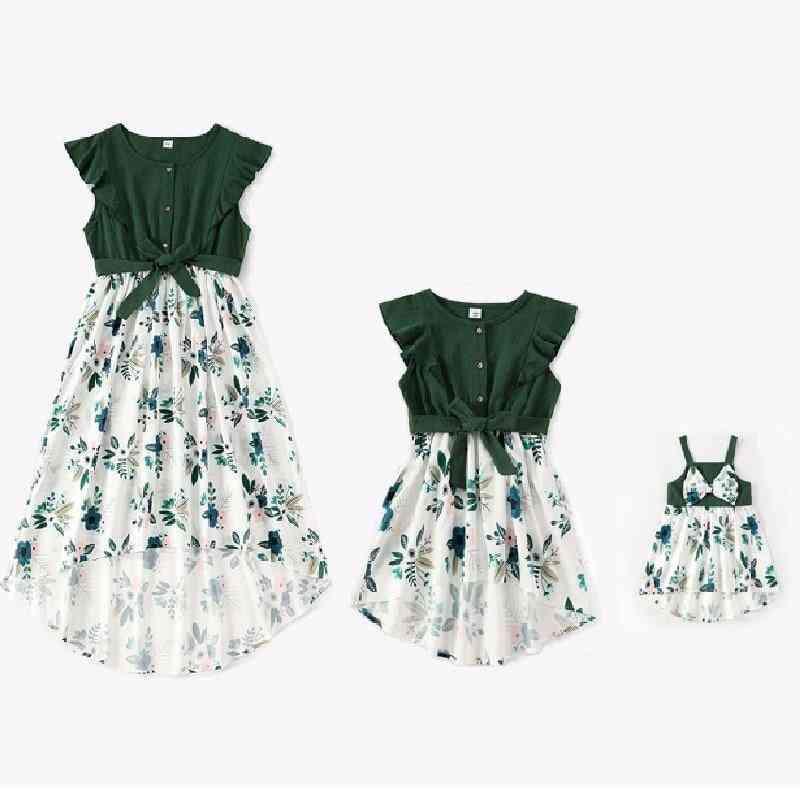 Dresses For Family Set, Flower Mom Baby Clothes, Dress