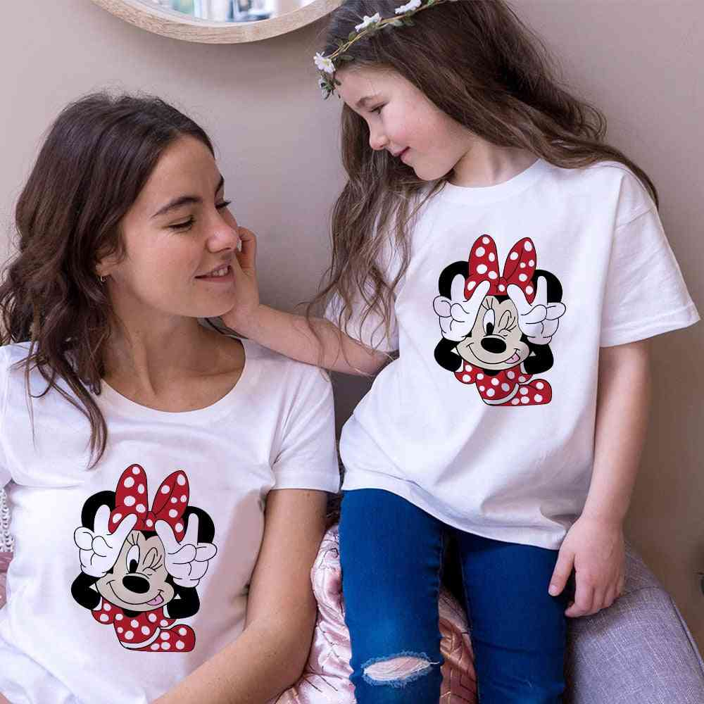 Women Mouse Print T-shirt, Casual White Short, Baby Tops