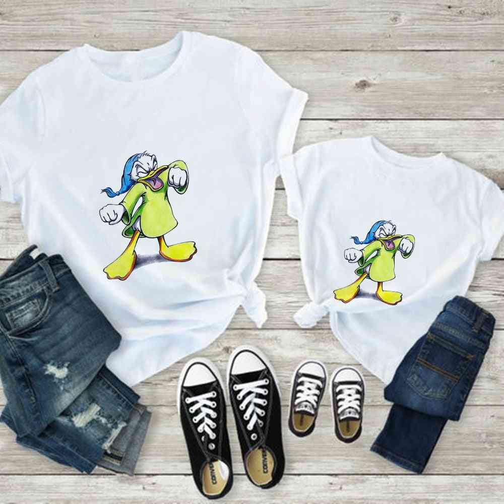 Mouse Print T-shirt, Casual White Short Sleeve Baby Tops