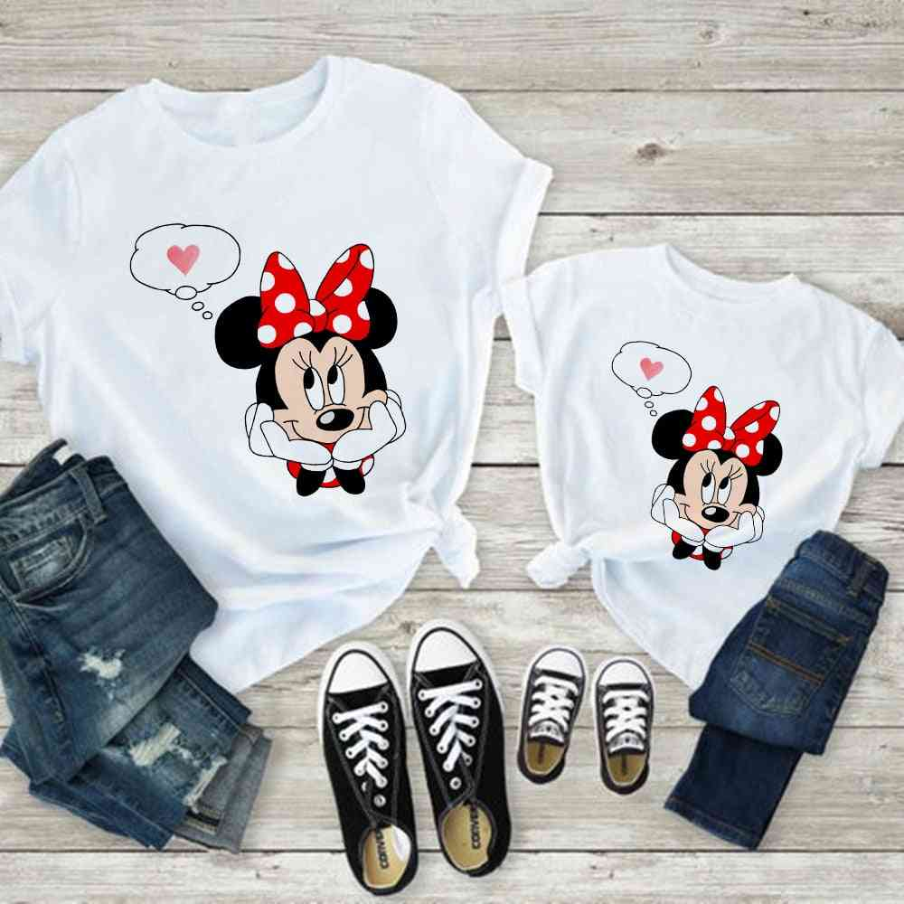 Women T-shirt, Mouse Print T-shirt, Casual White Short Sleeve Baby Tops