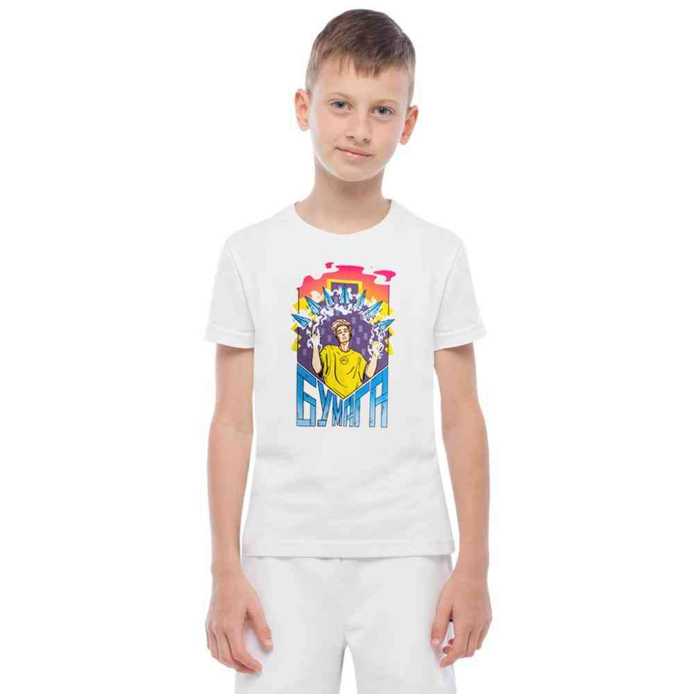 Kids Cotton T-shirts, Paper Print Casual Family Clothing T-shirt