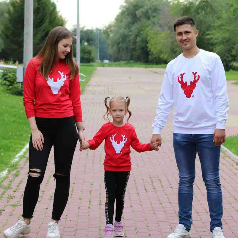 Christmas Deer Cotton T-shirt, Mother Father Baby Clothes Sets