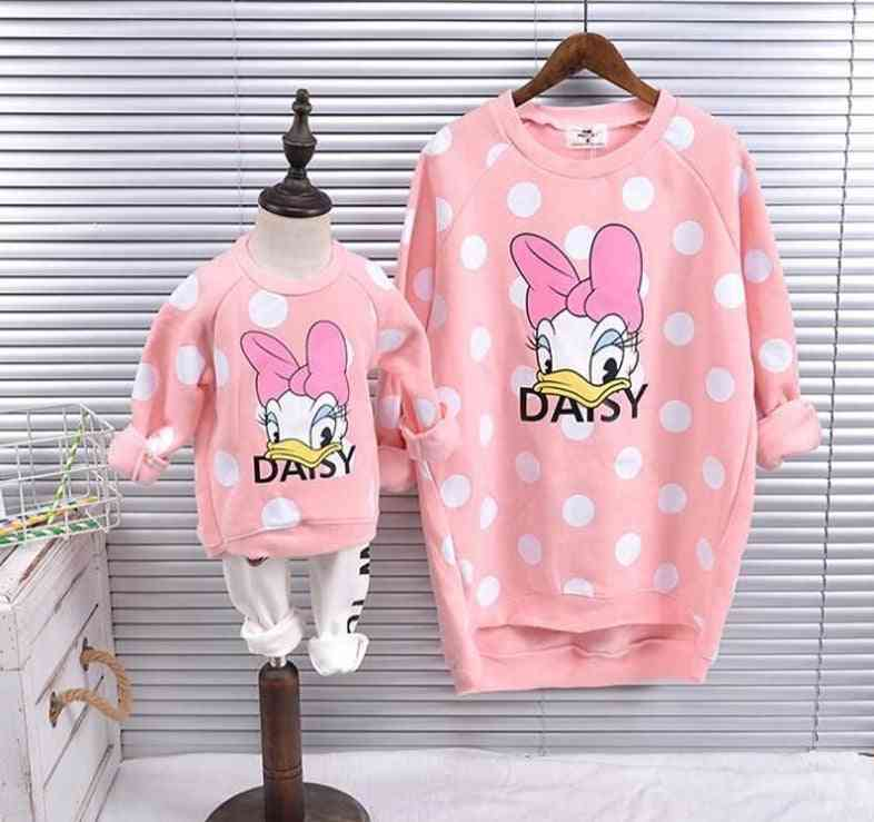 Family Matching Clothes, Cartoon Mother And Daughter Sweatshirt