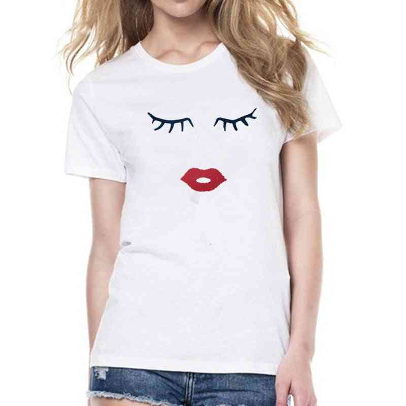 Eye Lashes Red Lips Print Women And Kids T-shirt