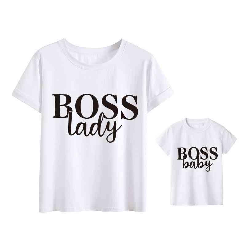 Boss Lady Print Family Matching Clothes, Mom Girl Boys T-shirt