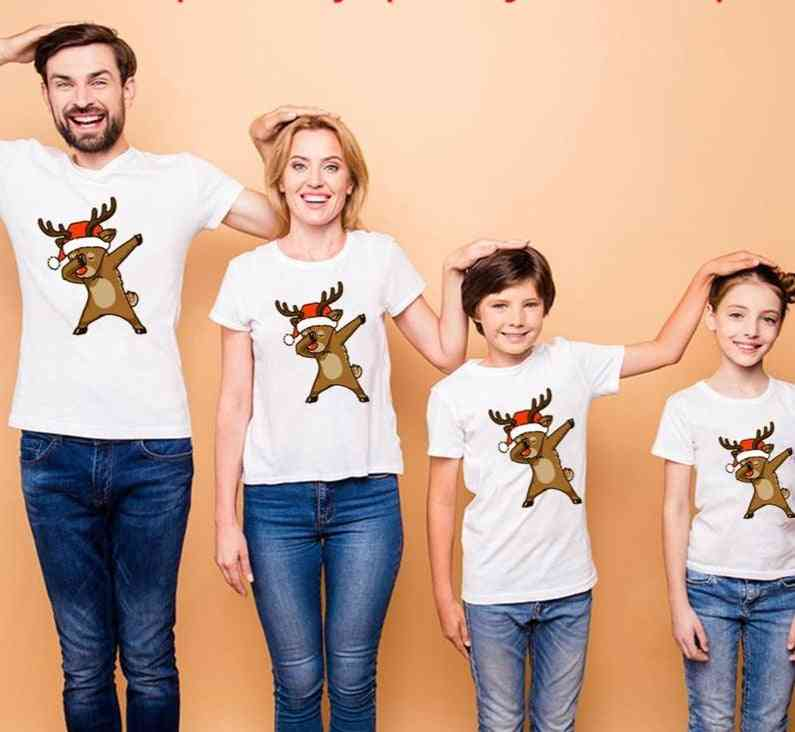 Family Matching Clothes, Print White Short Sleeve T-shirt