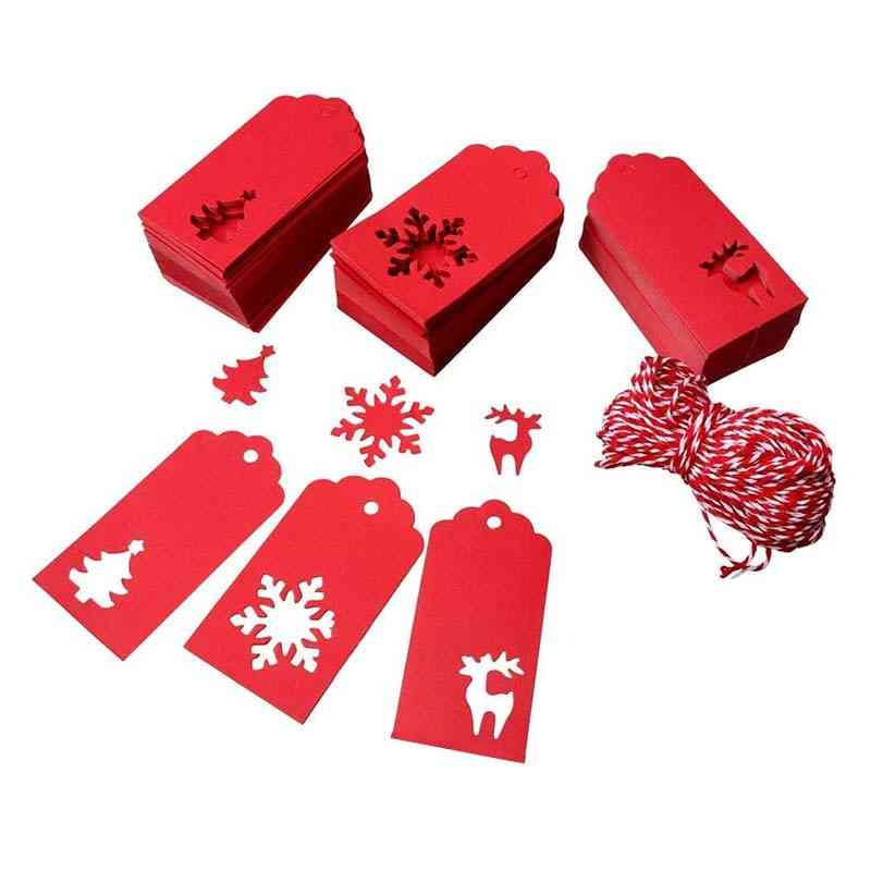 Christmas Paper Tags For Red Reindeer, Christmas Tree Snowman Christmas Tags With 30m Cotton Rope