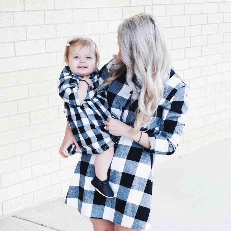 Autumn Long Sleeve Christmas Plaid Family Matching Dress