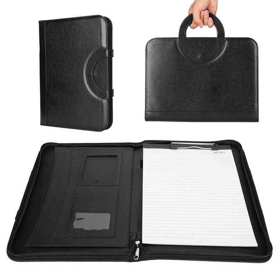 A4 Pu Leather Folder With Calculator Briefcase Bag